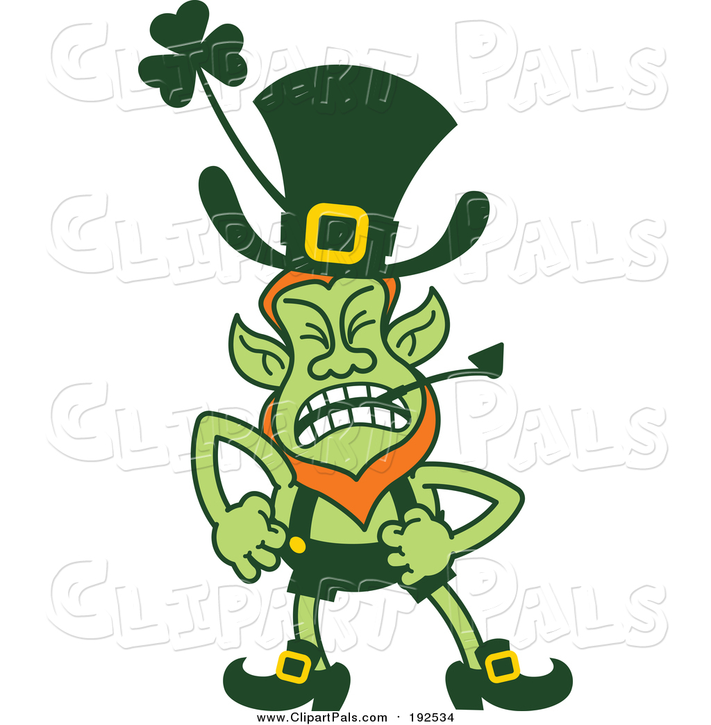 pal clipart of a angry st patricks day leprechaun shouting by