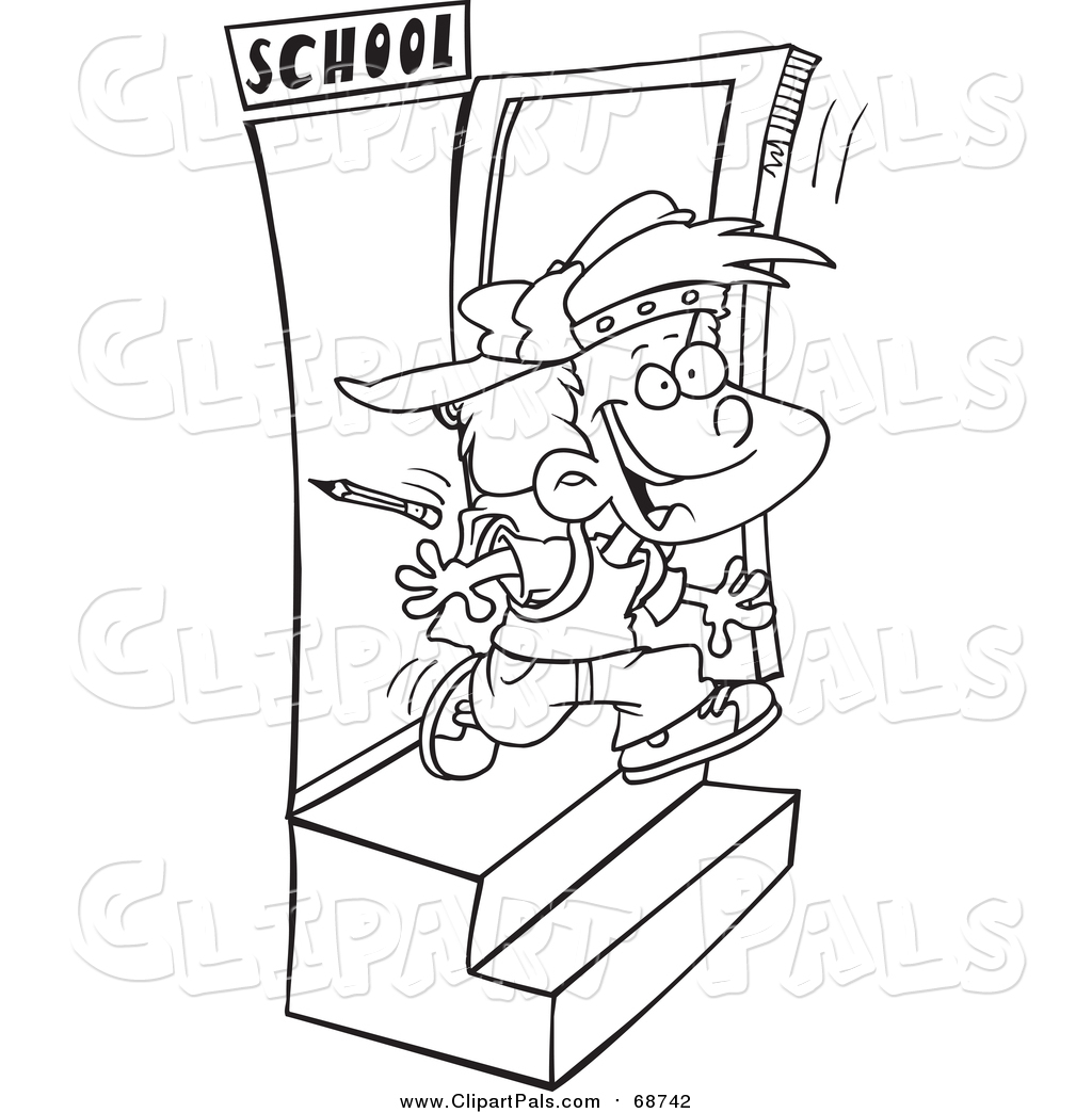 Pal Clipart of a Black and White Lineart School Boy Running out