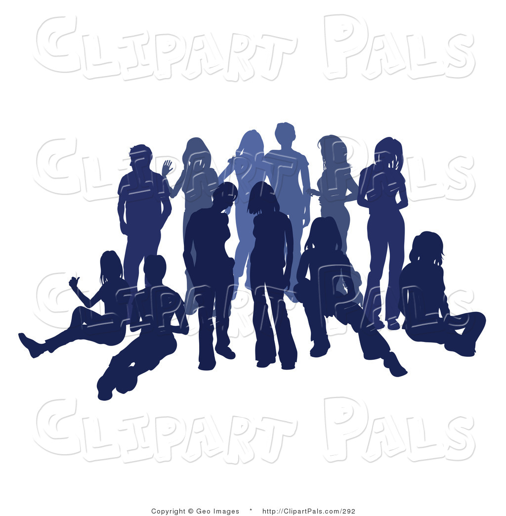 Pal clipart of a blue group of silhouetted people hanging for Hanging groups of pictures