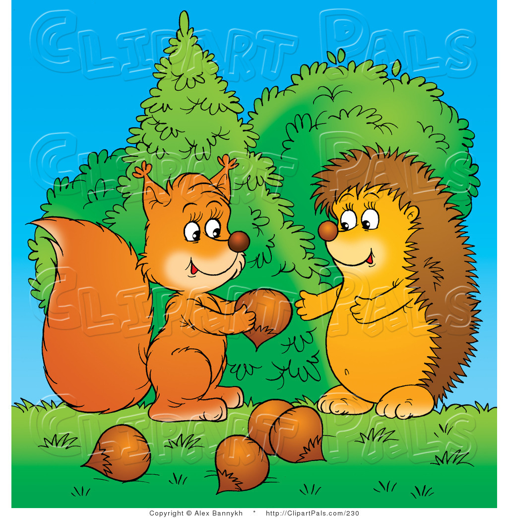 Larger Preview: Pal Clipart of a Caring Squirrel Sharing Acorns with a ...: clipartpals.com/designs/giving