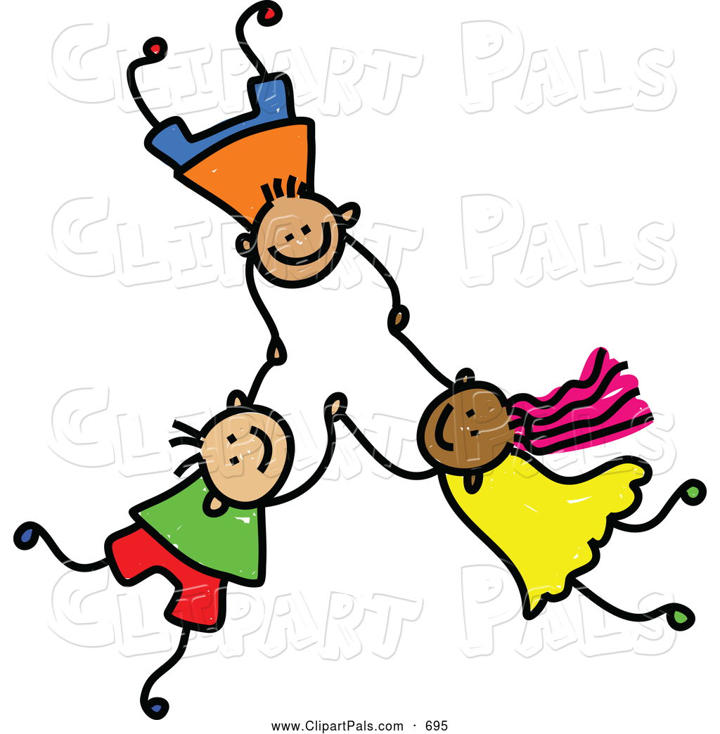 pal clipart of a childs sketch of 3 kids holding hands while falling - Sketch Images For Kids