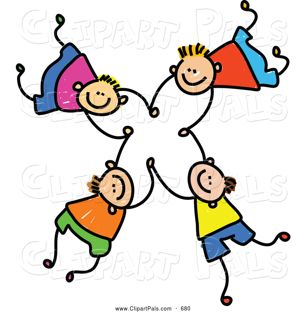 Pal Clipart of a Childs Sketch of Four Happy Boys Falling and Holding ...