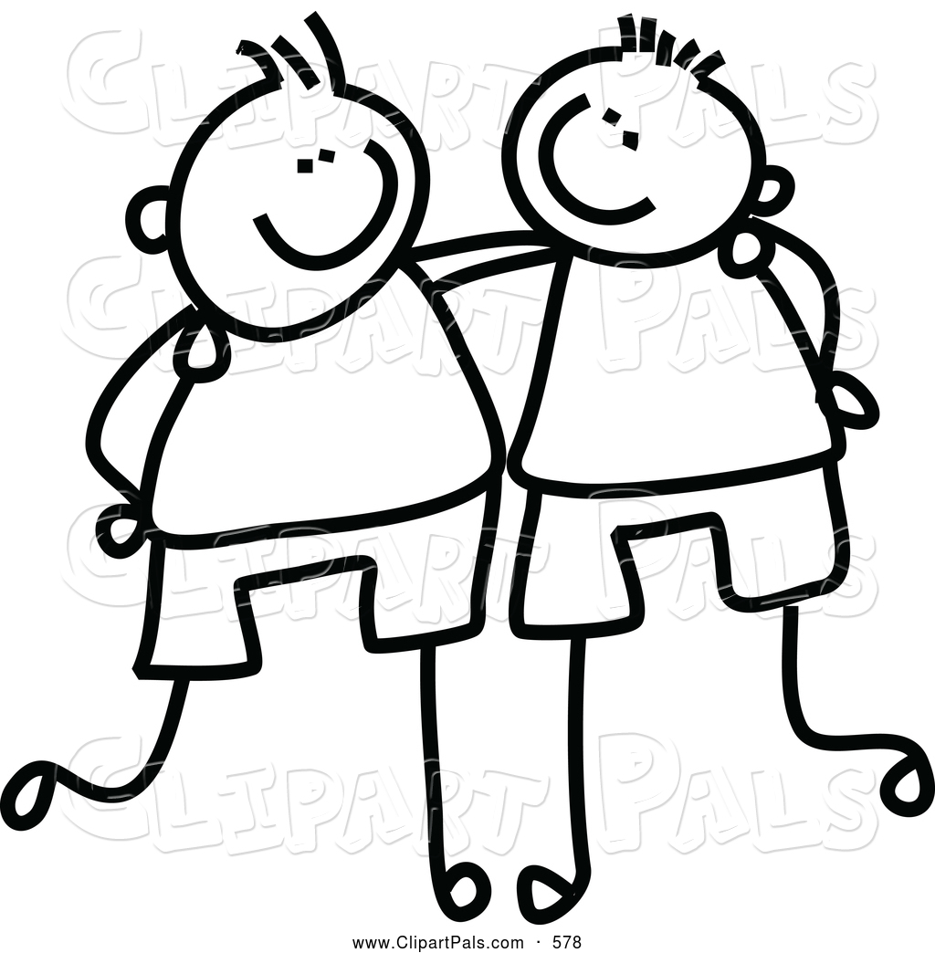 Arms Around Each Other Drawing Childs Sketch of Black And