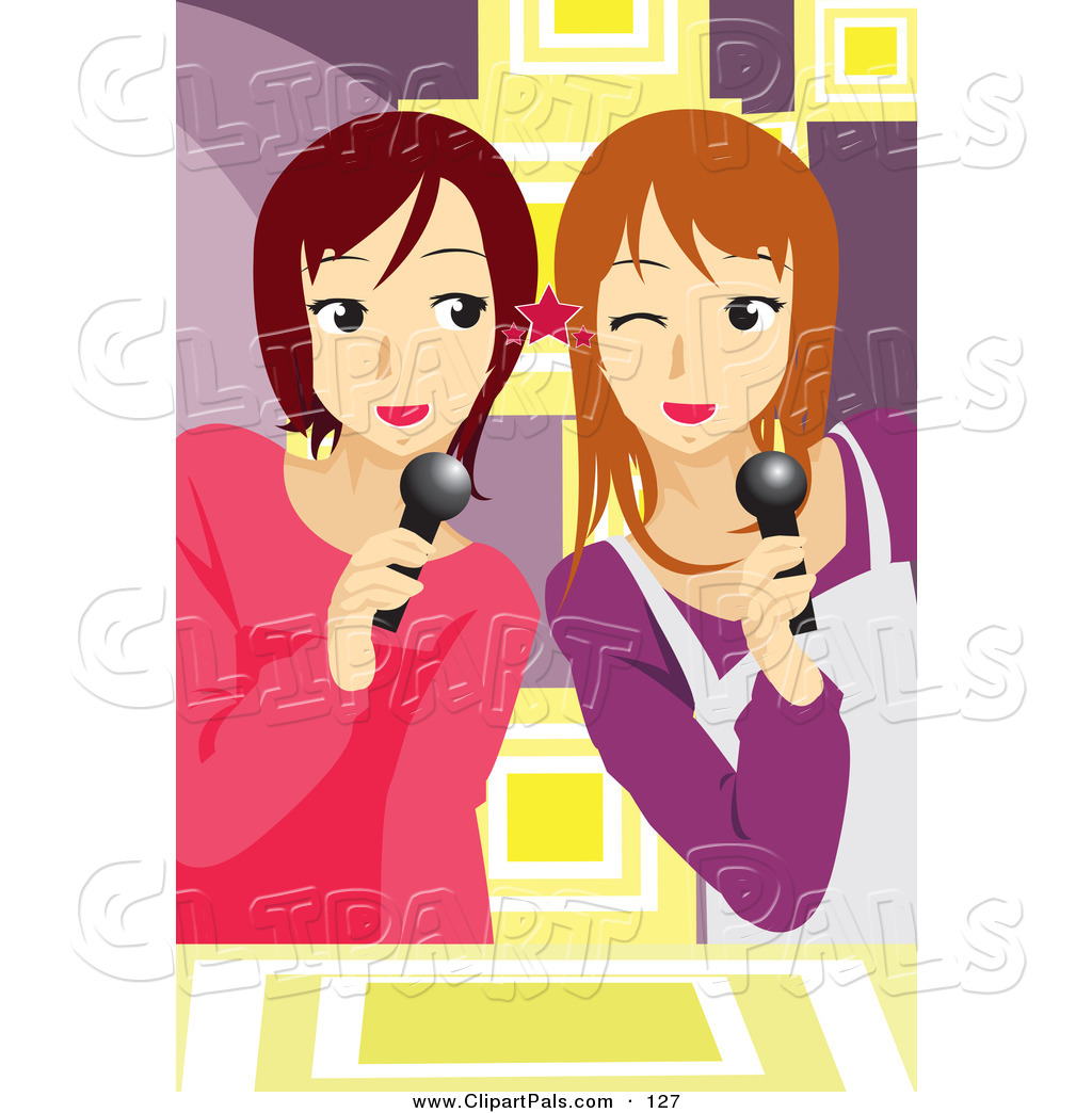 Clipart of teen girl singing