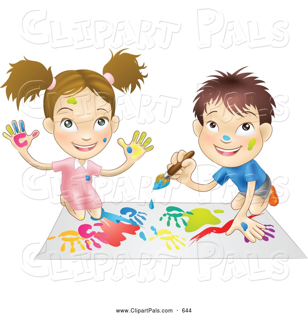 Art Girls Virtual Preschool: Royalty Free Kid Stock Friend Designs