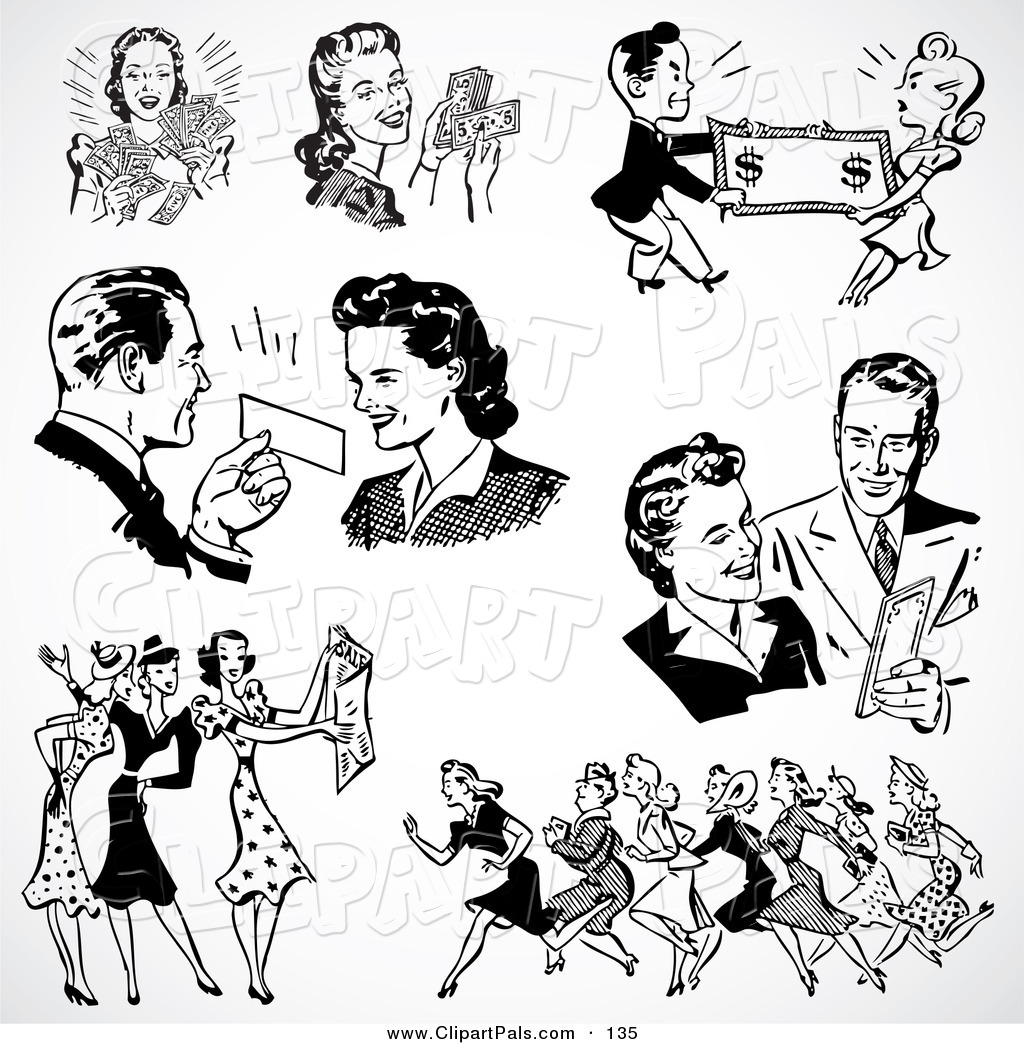 Royalty Free Black And White Retro Clipart Stock Friend Designs