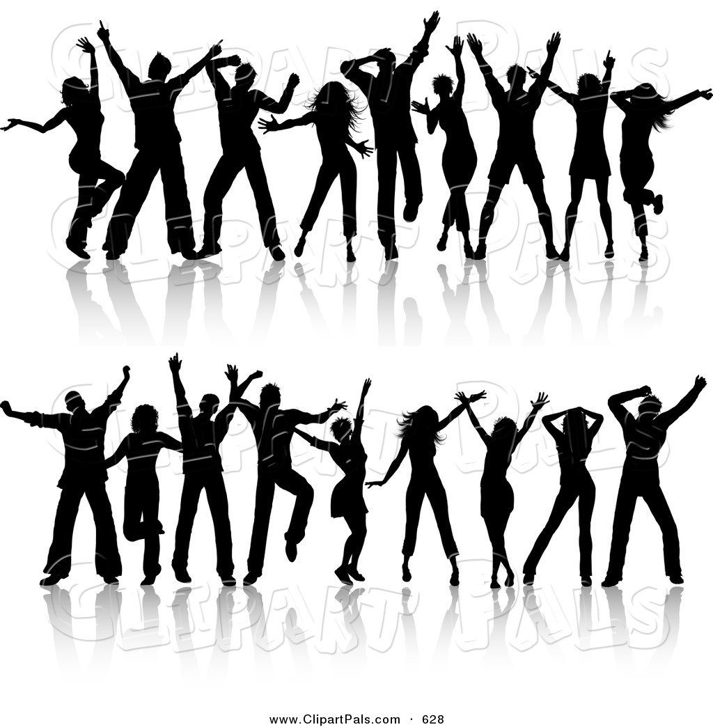 Pal Clipart of a Digital Set of Two Rows of Young Silhouetted Black Dancers