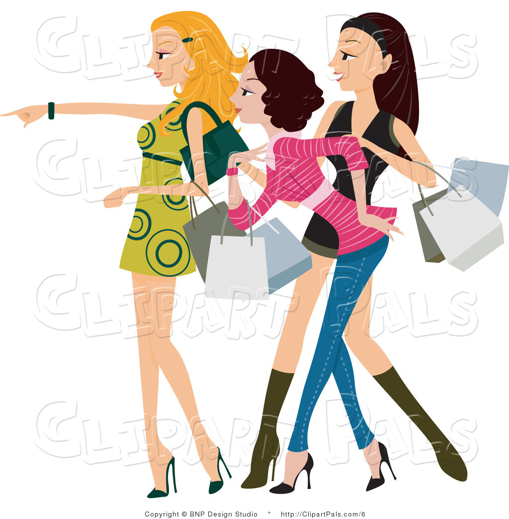 of a Fashionable Young Window Shopping Women Looking and Pointing