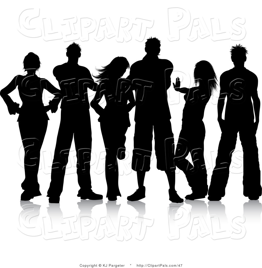 Pal Clipart of a Group of Black Silhouetted Young Men and Women ...