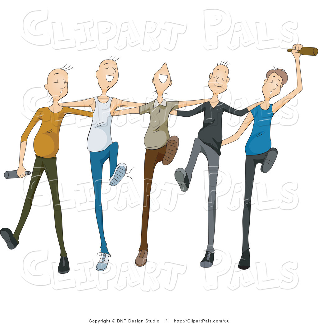Pal Clipart of a Group of Drunk Young Men Drinking and Dancing in ...