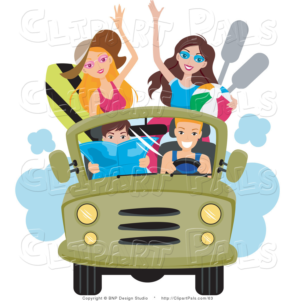 Pal Clipart Of A Group Young Men And Women Driving To The Beach In