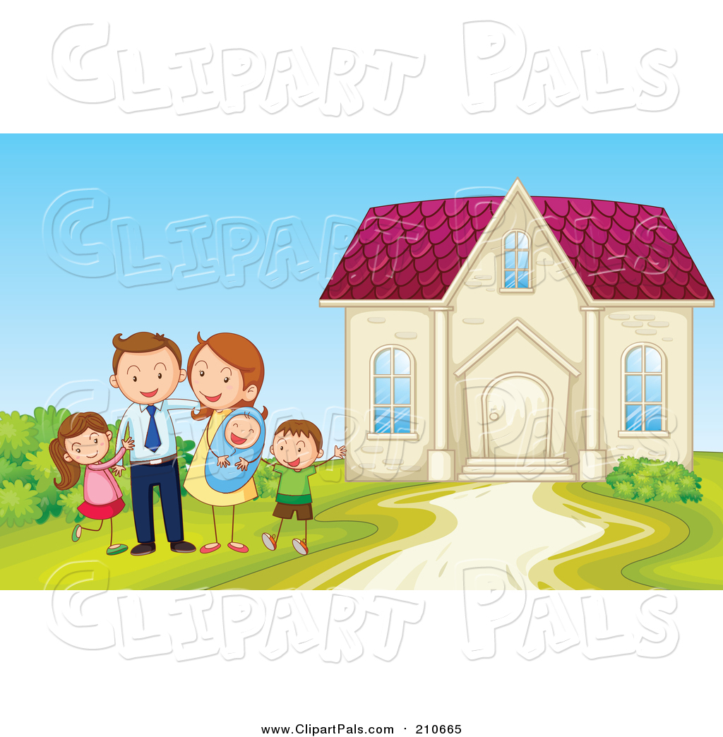 Pal Clipart of a Happy Family Posing Beside Home - Cartoon ...