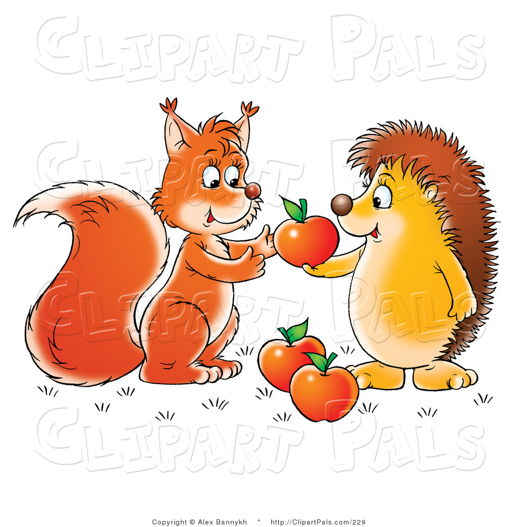 sharing apples with a friendly squirrel or fox caring squirrel sharing ...: clipartpals.com/designs/sharing