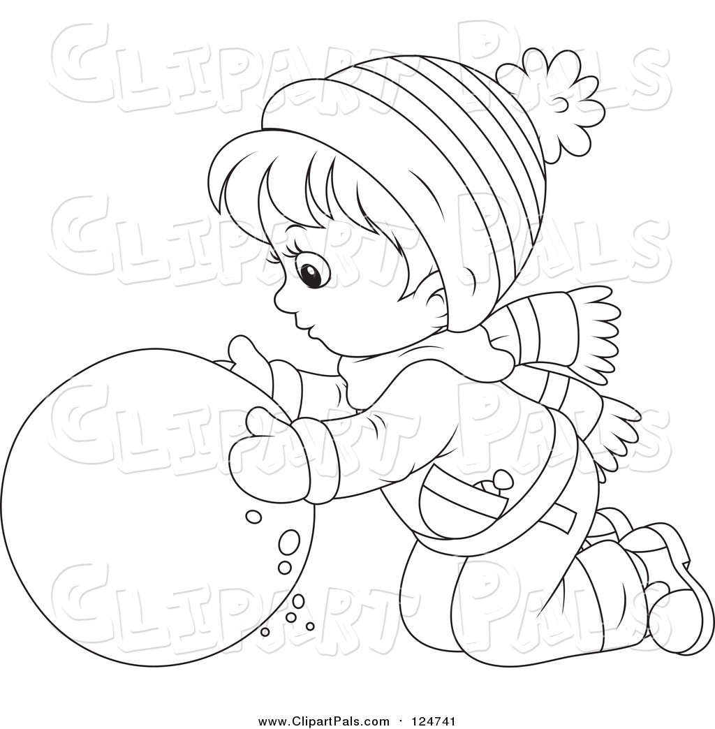 Coloring sheet roll - Lineart Boy Rolling A Ball Of Snow