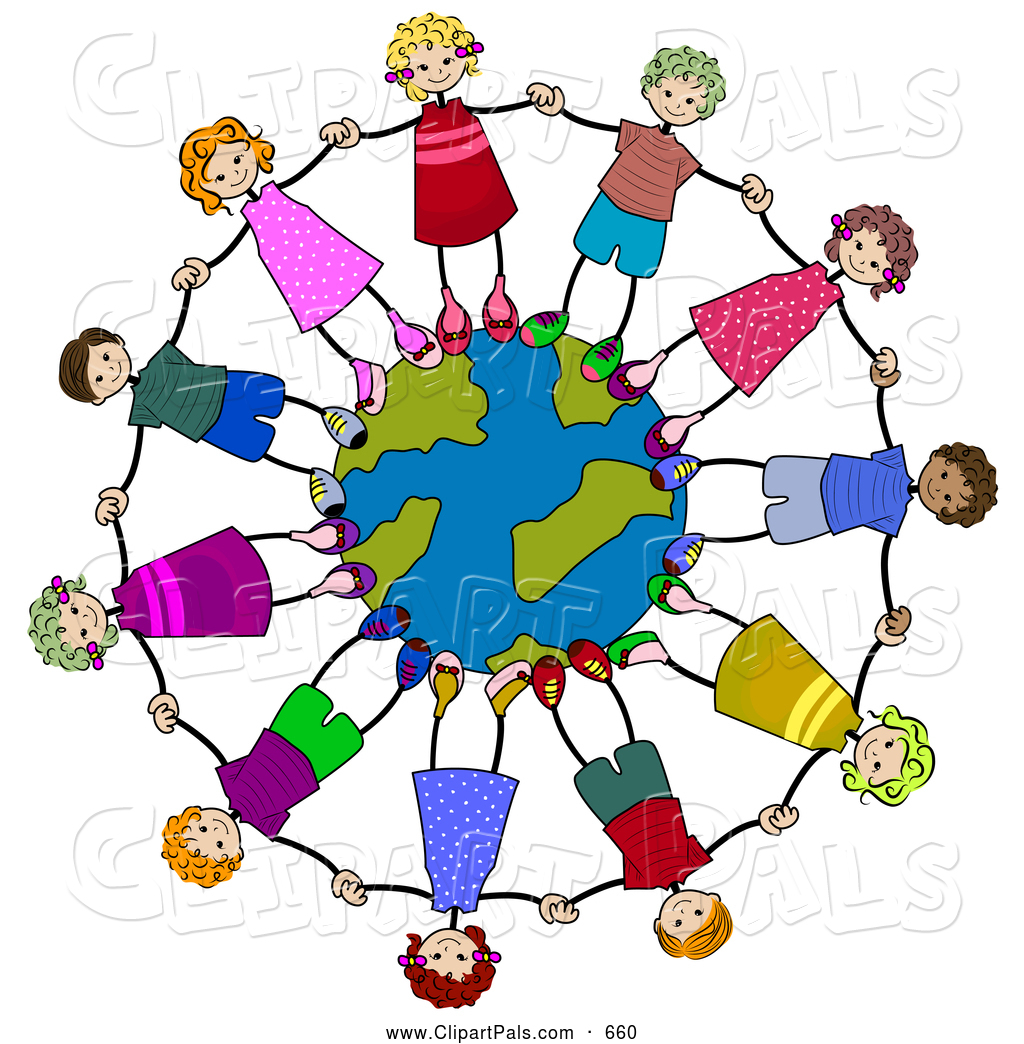 Pal clipart of a ring of happy diverse stick children holding hands