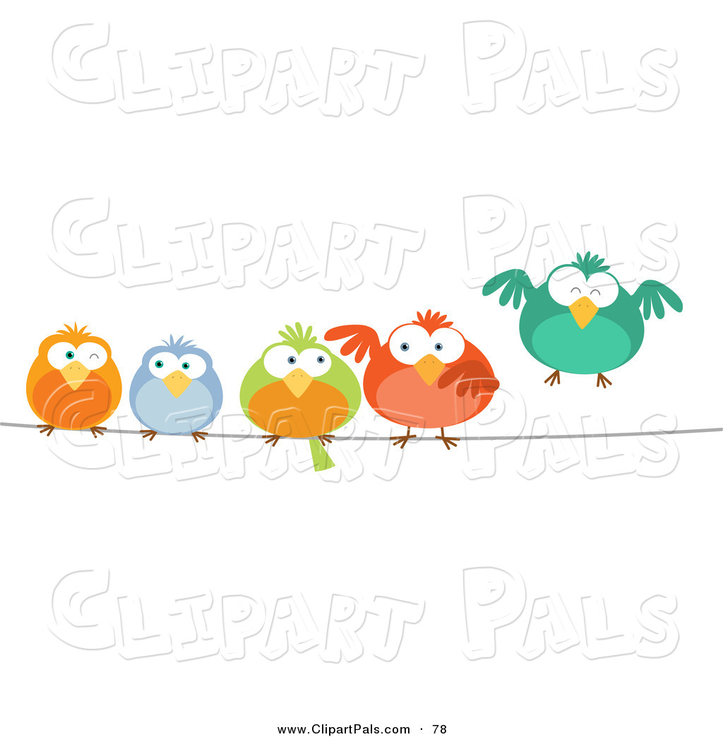 Window bird feeder cat - Larger Preview Pal Clipart Of A Row Of Cute Colorful Birds On A Wire