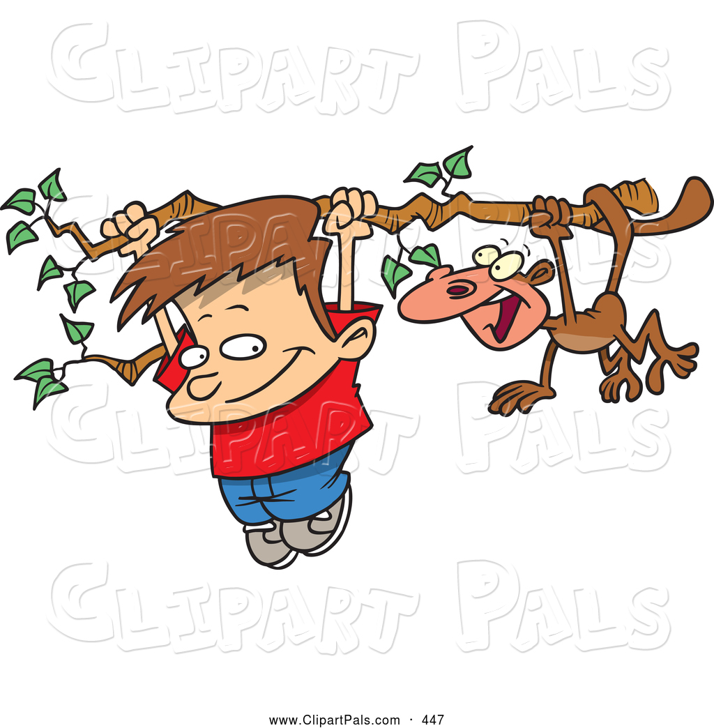 pal clipart of a smiling cartoon boy and monkey hanging on a tree