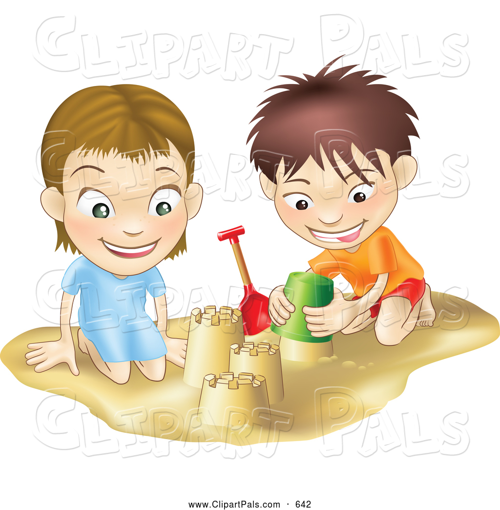 Pal Clipart Of A Smiling White Boy And Girl Building Sand