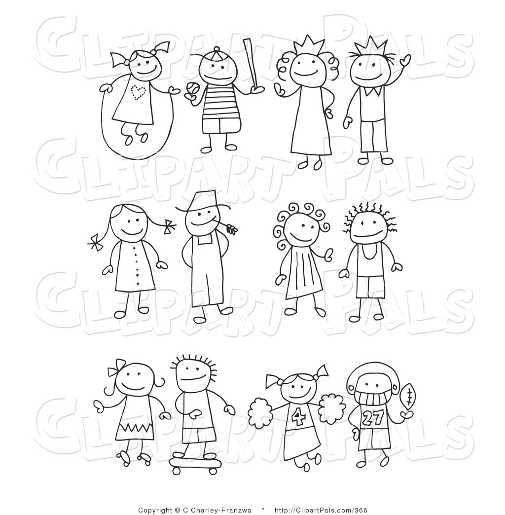 Larger Preview: Pal Clipart of a Stick Figure Girl Juming Rope, Boy ...