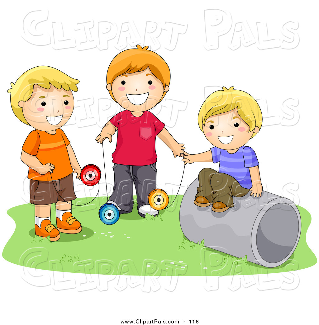 Pal clipart of a trio of happy boys playing with yo yos