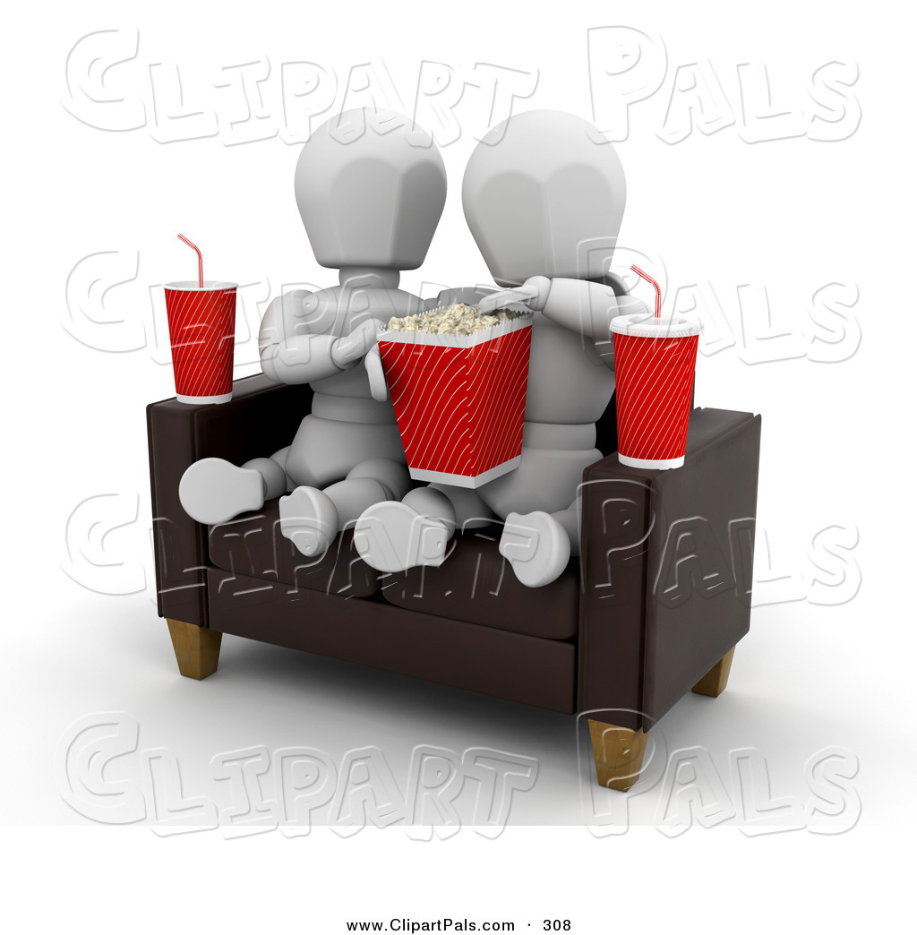 Pal Clipart Of A White Character Couple Watching A Movie