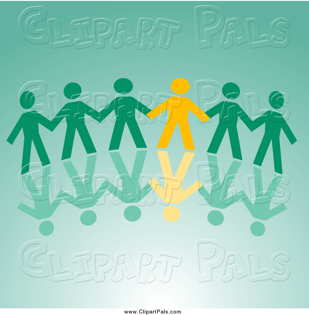 Larger preview pal clipart of a yellow and green paper people holding
