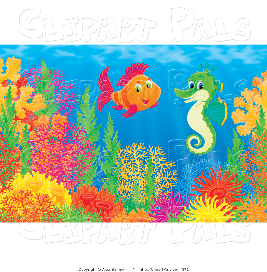 ... Saltwater Fish Chatting with a Green Seahorse Above a Coral Reef