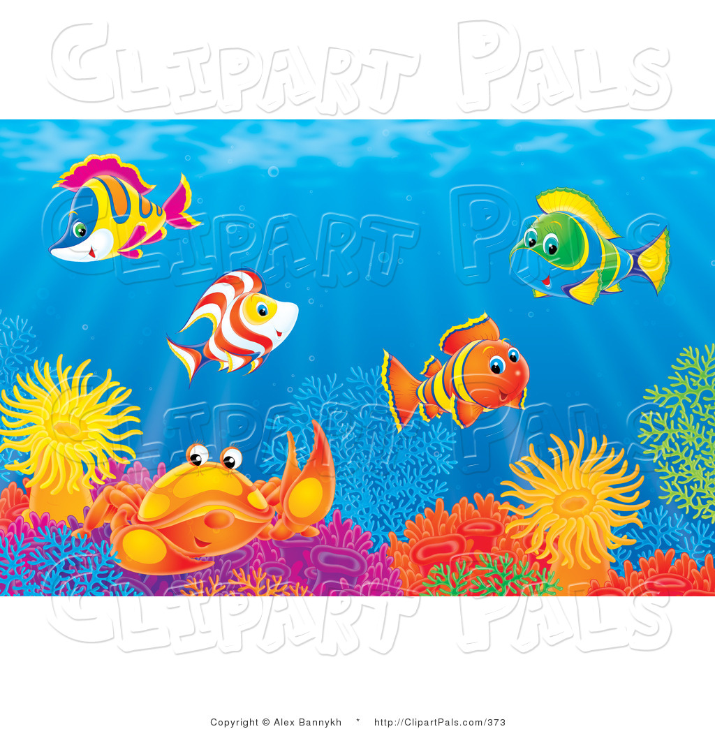 pal clipart of an underwater scene of colorful tropical fish and a
