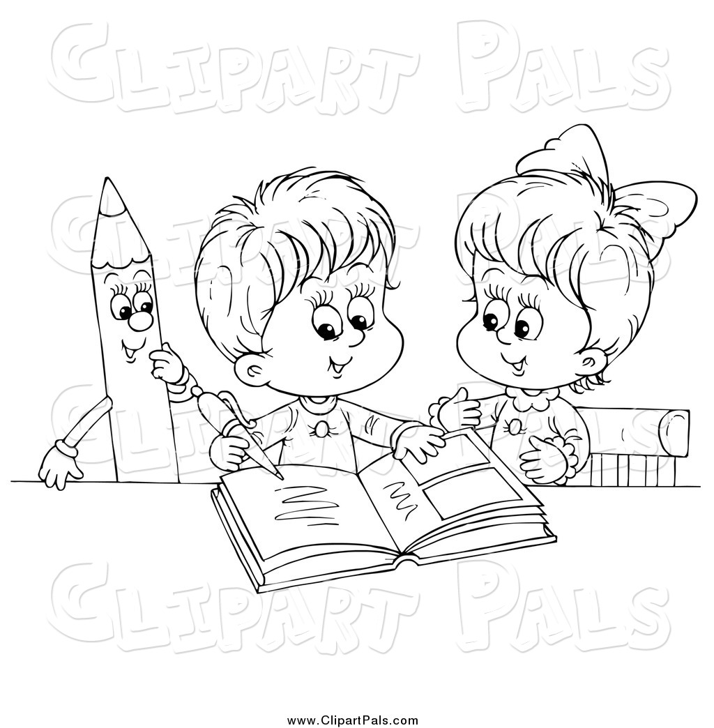 Pal Clipart of Black and White Children Writing in a Photo ...