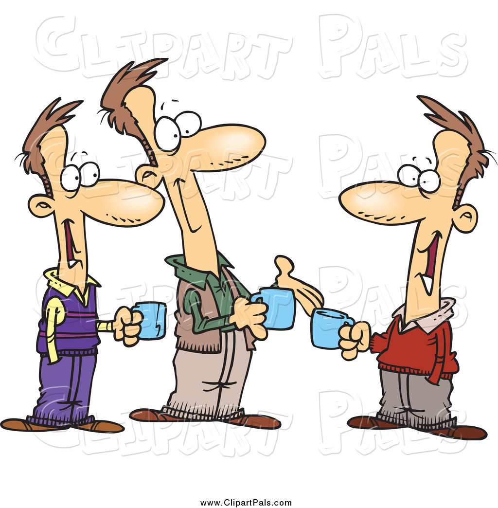 Pal Clipart of Cartoon Brothers Talking over Coffee by toonaday - #460