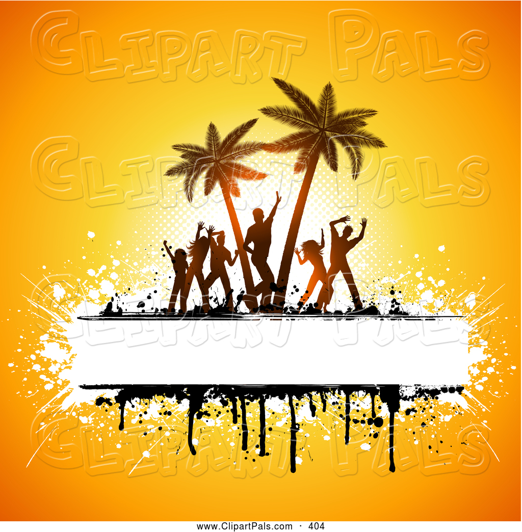 Pal Clipart Of Silhouetted Beach Party People Dancing And Palm Trees With Copyspace Grunge On