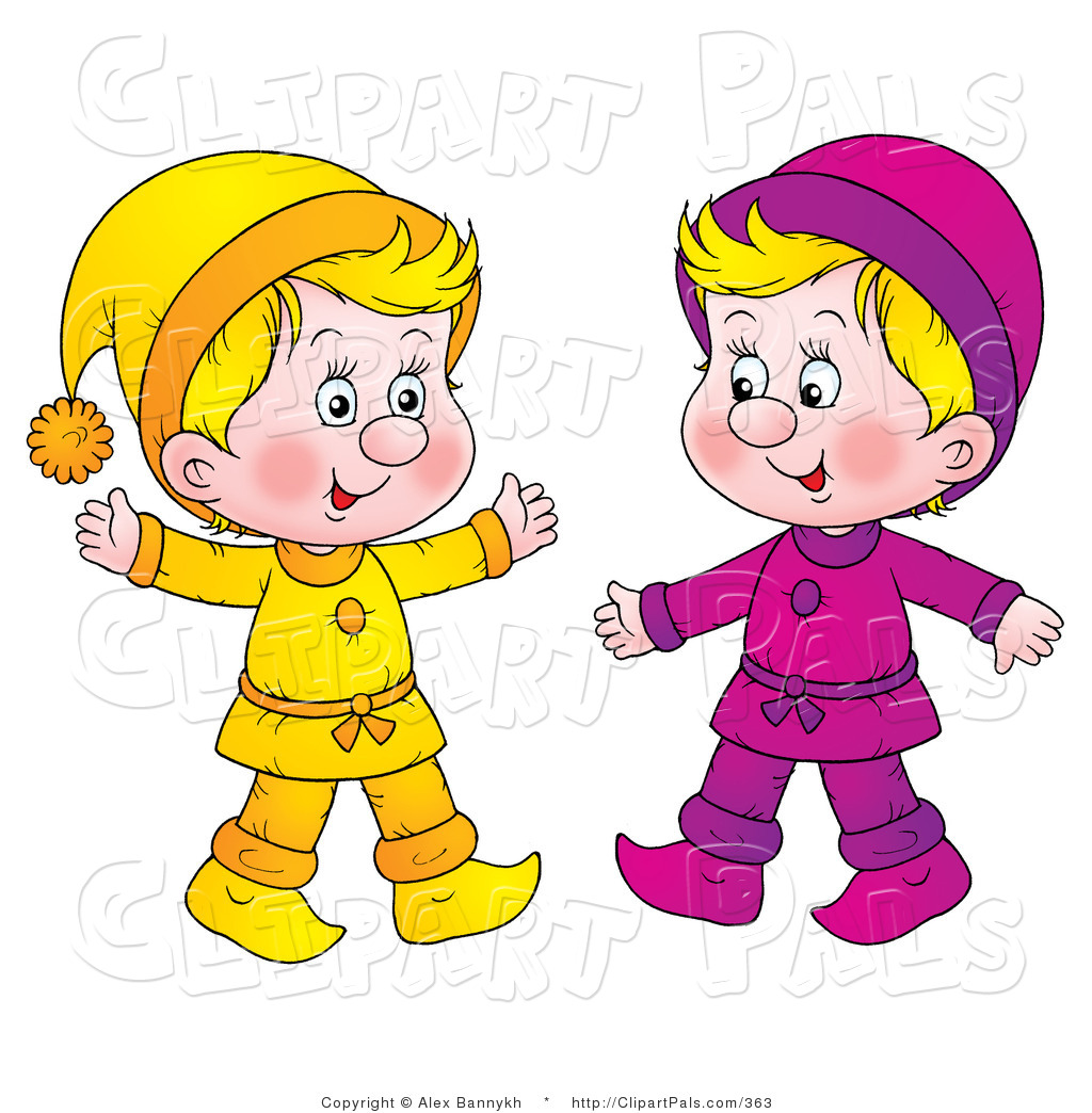 Pal Clipart of Two Little Blond Kids Dressed in Yellow and ...