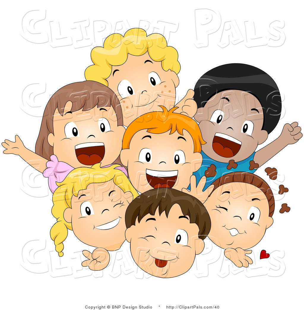 larger preview pal vector clipart of a group of excited diverse
