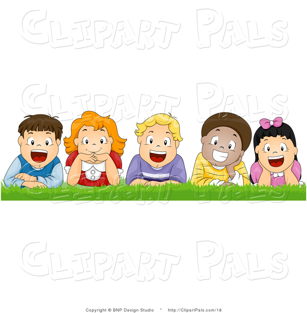 Larger Preview: Pal Vector Clipart of Happy Kids Laying in the Grass ...