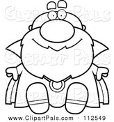 Clipart of a Black and White Lineart Sitting Bald Wizard by Cory Thoman