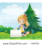 September 12nd, 2016: Clipart of a Blond Girl Waving and Sitting with a Sign in a Park by Graphics RF
