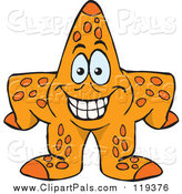 Clipart of a Happy Orange Starfish by Dennis Holmes Designs