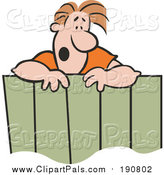 Clipart of a Male Neighbor Talking over a Wooden Fence - Cartoon Style by Johnny Sajem