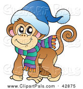 September 1st, 2016: Clipart of a Smiling Warm Monkey Ready for Cold, Winter Weather - Cartoon Style by Visekart
