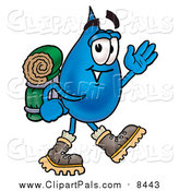 September 7th, 2016: Clipart of a Water Drop Hiking and Carrying a Backpack by Toons4Biz