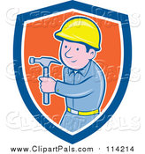 Clipart of a White Handyman Posing with a Hammer - Cartoon Style by Patrimonio