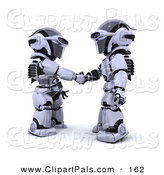 Pal Clipart of 3d Silver Robots Shaking Hands on a Deal by KJ Pargeter