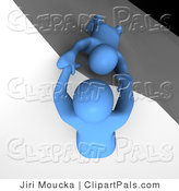 Pal Clipart of a 3d Azul Man Character Pulling Another Person up from the Ledge of a Cliff by Jiri Moucka