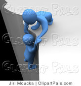 Pal Clipart of a 3d Blue Man Character Helping Another Being up from the Ledge of a Cliff by Jiri Moucka
