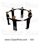 September 25th, 2013: Pal Clipart of a 3d Circle of Business Men Holding Hands, Symbolizing Teamwork by