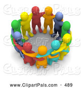 Pal Clipart of a 3d Colorful Team of People Huddled by Jiri Moucka