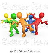 Pal Clipart of a 3d Diverse Colorful People Dancing at a Party by 3poD