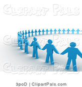 Pal Clipart of a 3d Large Circle of Blue People Holding Hands by 3poD