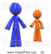 Pal Clipart of a 3d Orange and Blue Factor Men Reaching for Each Other on White by Leo Blanchette