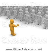 Pal Clipart of a 3d Orange Man Speaking to a Crowd of Blanco Men by Jiri Moucka